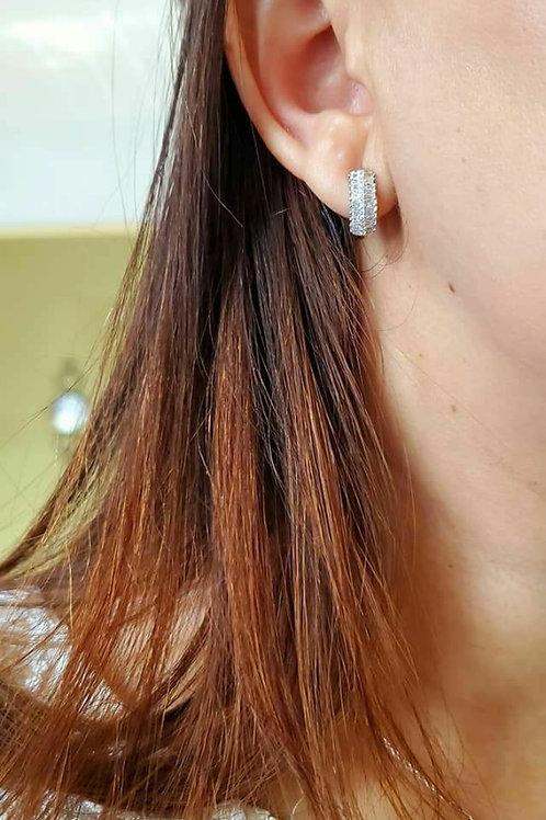 Sterling Silver CZ Oval Hoop Earrings