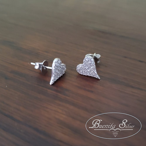 Sterling Silver CZ ❤ Stud Earrings