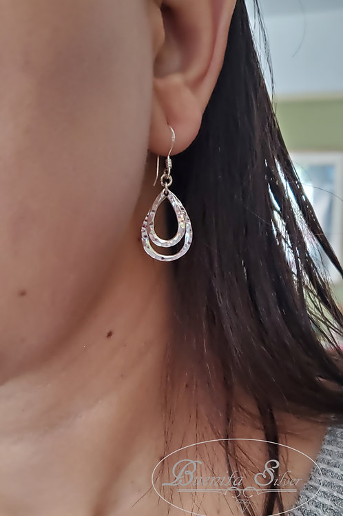 Sterling Silver Hamered Teardrop Earrings