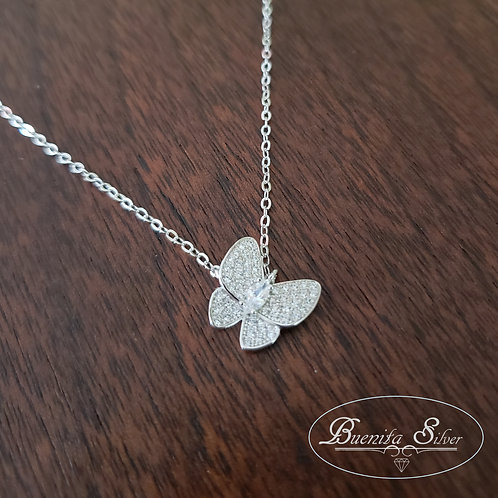 Sterling Silver CZ Butterfly Necklace