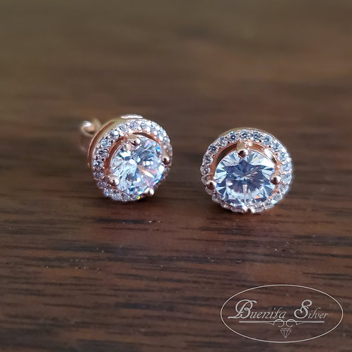 Sterling Silver CZ Gold Rose Earrings