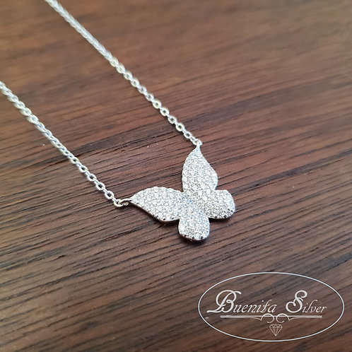 Sterling Silver CZ Butterfly Pendant Necklace