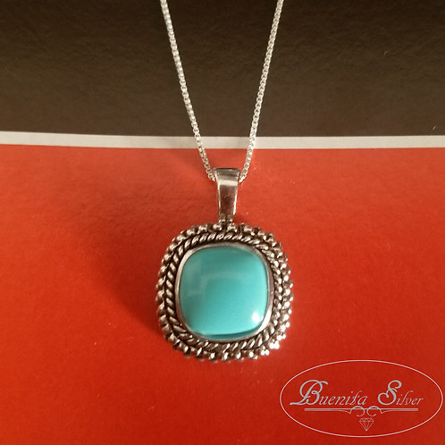 Turquoise Square Pendant Necklace in Sterling Silver