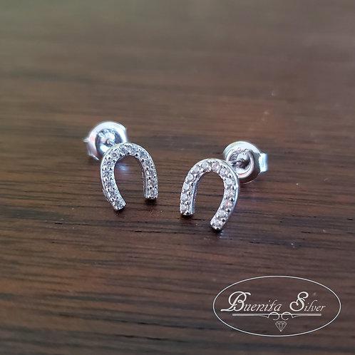 Sterling Silver Horseshoes CZ Earrings