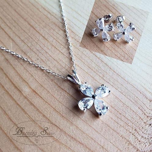 Sterling Silver CZ Flower Earrings & Pendant Necklace Set