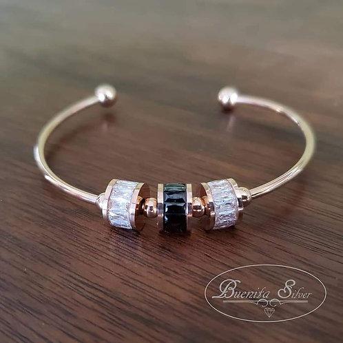 Stainless Steel CZ Bangle Bracelet