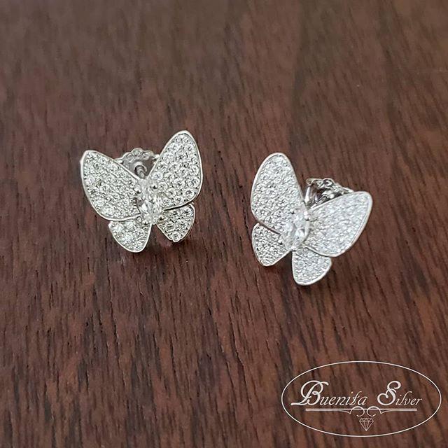 Sterling Silver CZ Butterfly Earrings $1