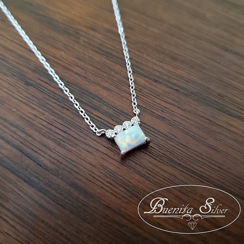 Sterling Silver White Opal CZ Necklace