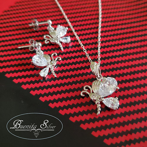 925 Sterling Silver CZ Butterfly Earrings & Pendant Necklace