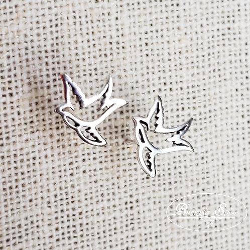 Sterling Silver Dove Stud Earrings
