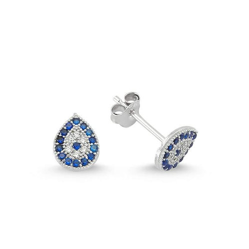 Sterling Silver Evil Eye Drop Stud Earrings