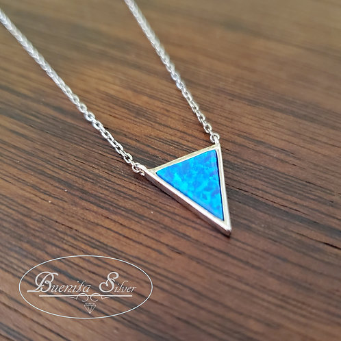 Sterling Silver Blue Opal Triangle Necklace