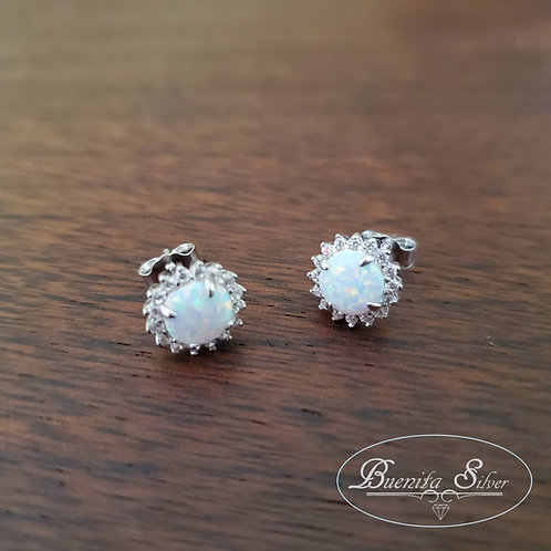 Sterling Silver White Opal CZ Halo Earrings