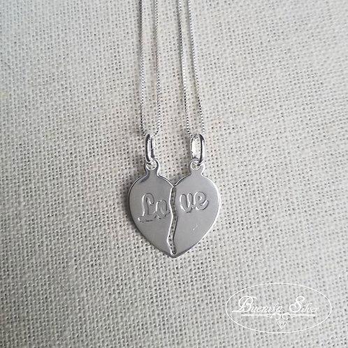 """Sterling Silver """"Love"""" Split Broken Heart Necklace"""