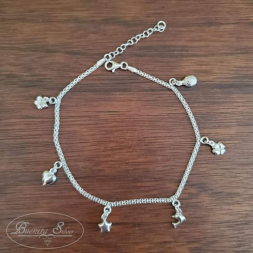 Sterling Silver Multi Charms Ankle Bracelet