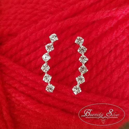 Sterling Silver CZ Stud Ear Climber Earrings