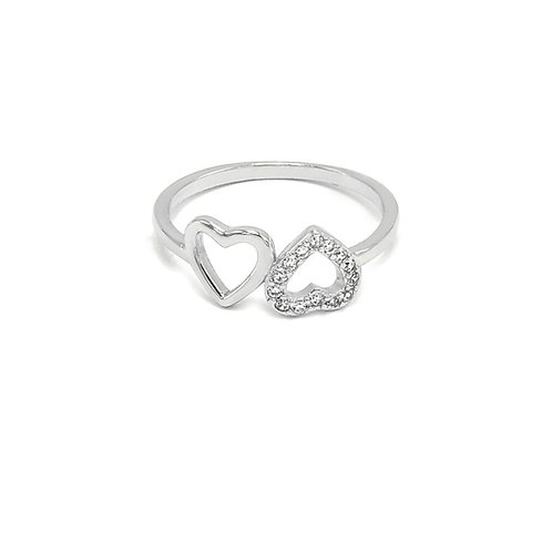 Sterling Silver CZ Double Heart Ring