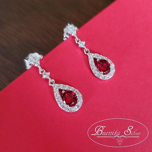 Sterling Silver Pear CZ Halo Dangle Earrings