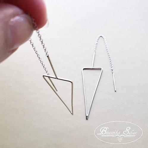 Sterling Silver Long Triangle Frame Threader Earrings