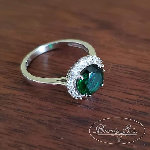 Sterling Silver CZ Simulated Emerald Halo Ring