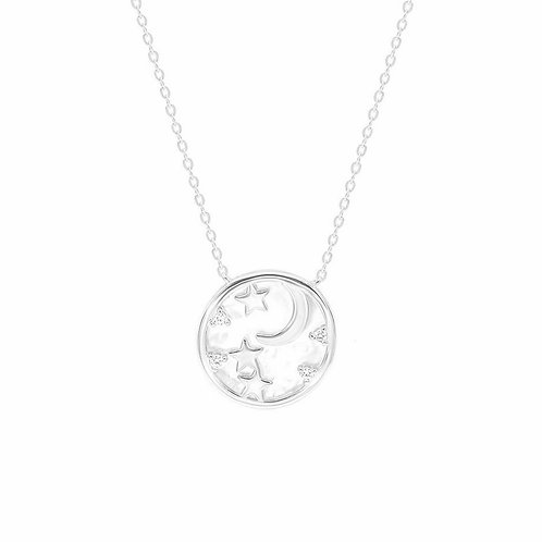 Sterling Silver Cubic Zirconia Moon and Stars Round Pendant Necklacr