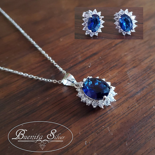 Sterling Silver Blue Sapphire CZ Earrings & Necklace Set