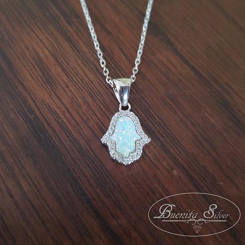 Sterling Silver CZ White Opal Hand of God Hamsa Necklace