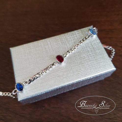 Sterling Silver Mixed CZ Stones Bracelet