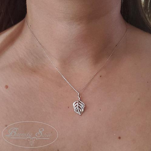 Sterling Silver CZ Leaf Necklace