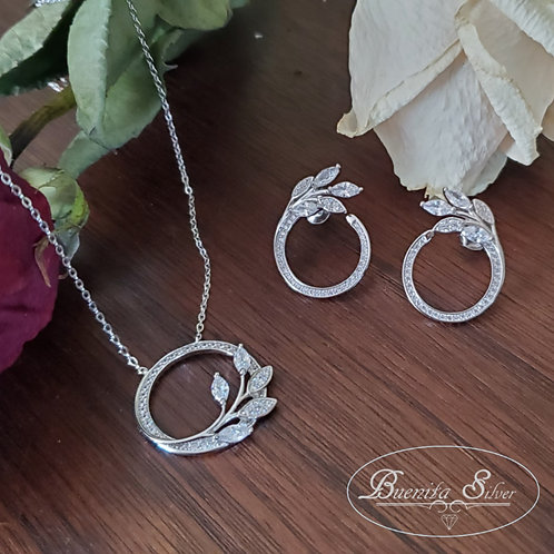 Sterling Silver CZ Leaf Earrings & Pendant Necklace Set