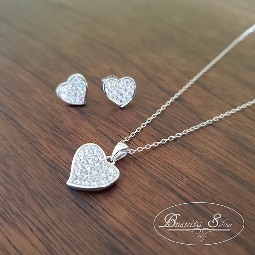 Sterling Silver CZ Heart Earrings & Necklace Set