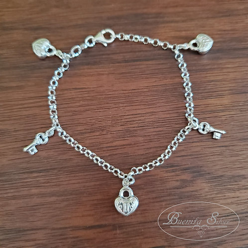 Sterling Silver Heart Lock & Key Charms Bracelet $35.00