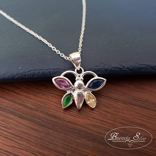Sterling Silver Multicolor CZ Butterfly Pendant Necklace