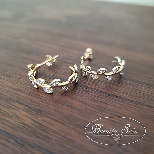 Sterling Silver CZ Leaf Hoop Earrings