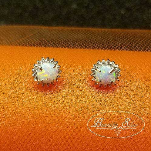 Sterling Silver White Opal CZ Halo Earrings