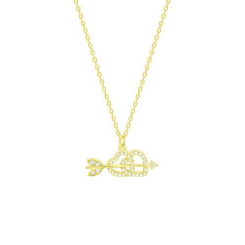 Sterling Silver CZ Interlocked Hearts Necklace