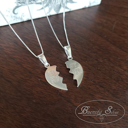 "Sterling Silver ""Best Friend"" Split Broken Heart  Necklace"