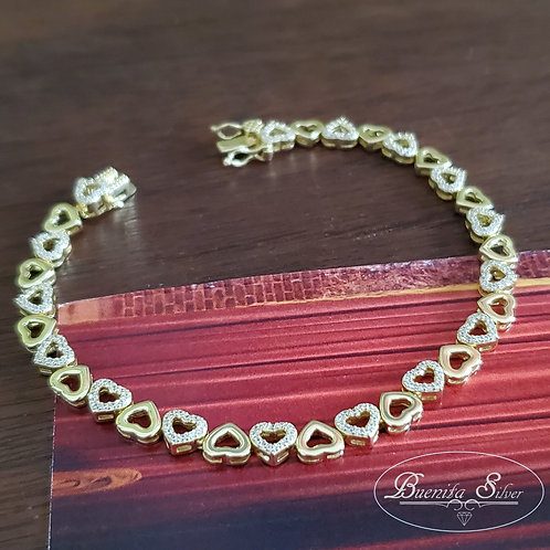 "7"" Sterling Silver Heart Shaped Cubic Zirconia Link Bracelet"