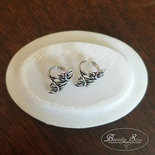 Sterling Silver Cuff Leaf Earrings