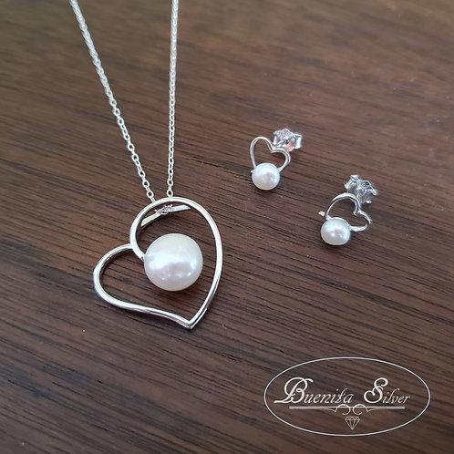 Sterling Silver Heart Pearl Earrings & Pendant Necklace Set