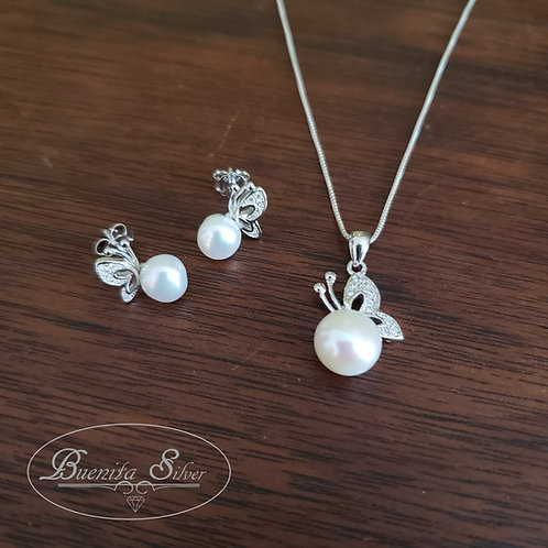 Sterling Silver CZ Freshwater Cultured Pearl Elegant Butterfly Necklace Earr