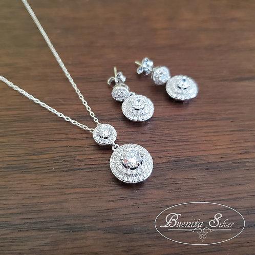 Sterling Silver Cubic Zirconia Earrings & Pendant Necklace Set