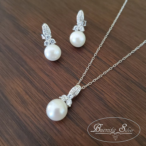 Sterling Silver CZ Freshwater Pearl Necklace & Earrings Set