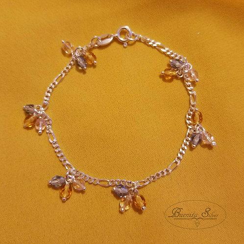 "7"" Sterling Silver Multi Color Beads Bracelet"