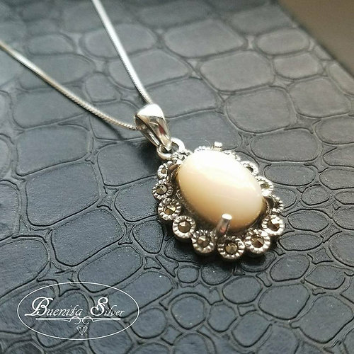 Sterling silver jewelry buenita silver sterling silver mother sterling silver mother of pearl marcasite pendant necklace aloadofball Image collections