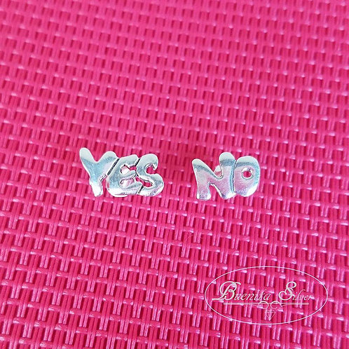Sterling Silver Yes & No Stud Earrings