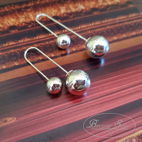Sterling Silver Hanging Ball Theader Bar Earrings