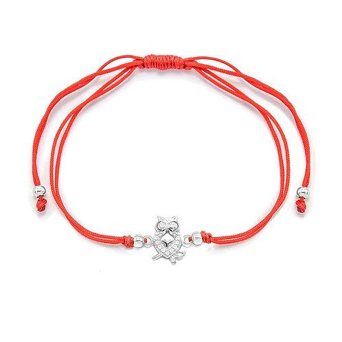 Sterling Silver CZ Owl Pendant  Bracelet.  Adjustable String