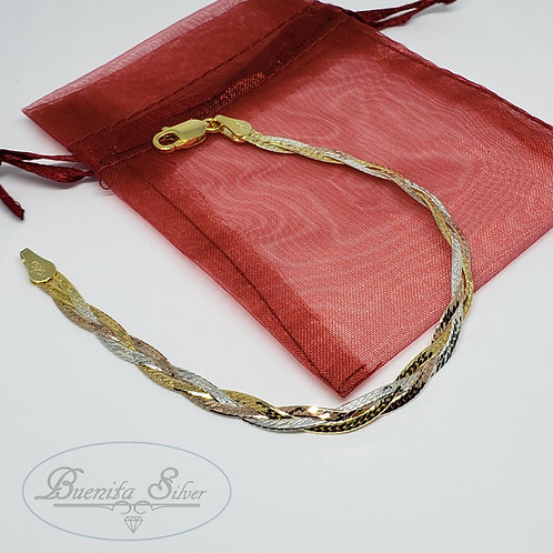 "7"" Three Strand Sterling Silver Braided Bracelet"