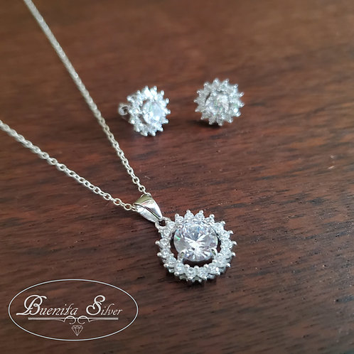 Sterling Silver CZ Halo Earrings & Necklace Set